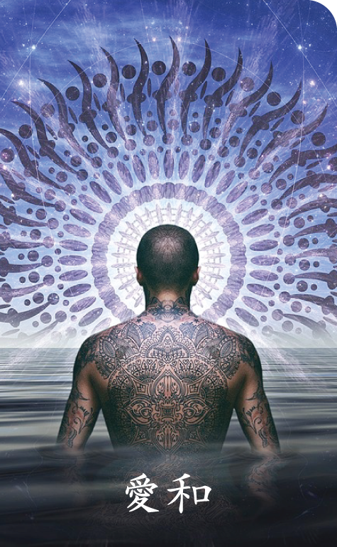 Tattooed man cleansing by meditation