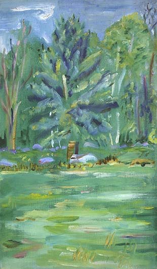Art and Theology. E. E. Cummings (American, 1894–1962), Forest Glade. Oil on canvas, 22 × 13 in.