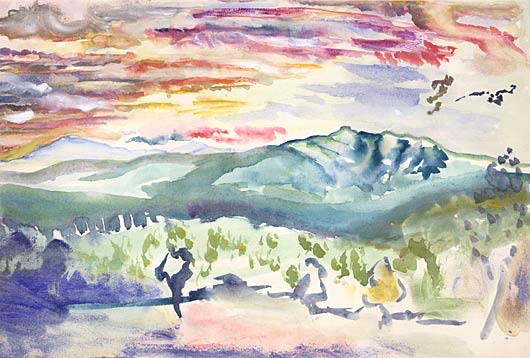Art and Theology. E. E. Cummings (American, 1894–1962), Chocorua Landscape. Watercolor, 12 × 18 in.